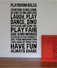 Playroom Rules Nursery Kids Children Quote Decal Sticker Wall Vinyl Decor Art