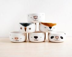 pottery bowls Set of 6 small ceramic bowls with animal faces for serving sauce, ice cream, nuts, dessert. Original handmade pottery bowls for gift. Size S Pottery Bowls, Ceramic Bowls, Ceramic Art, The Animals, Animal Faces, Handmade Pottery, Handmade Items, Handmade Ceramic, Ceramic Animals
