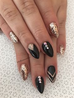 Rose Gold And Black  by Bellissimanails from Nail Art Gallery