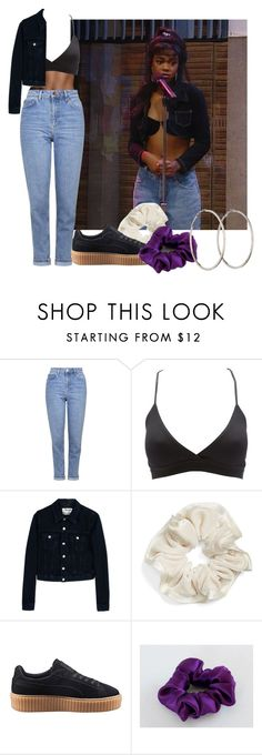 """#682 (ashley banks inspired)"" by babygyal09 ❤ liked on Polyvore featuring Topshop, Charlotte Russe, Acne Studios, L. Erickson, Puma and Chanel"