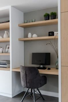 42 creative diy small apartment decorating ideas 18 - Diy Home Decor Office Nook, Home Office Space, Home Office Design, Home Office Decor, House Design, Home Decor, Office Cabinet Design, Home Office Shelves, Desk Nook