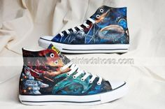 Star Trek Hand Painted Shoes - Star Wars Shoes - Ideas of Star Wars Shoes - Custom Star Wars Vs. Painted Canvas Shoes, Hand Painted Shoes, Star Trek, Cool Converse, Converse Shoes, Star Wars Shoes, Goth Shoes, Decorated Shoes, Star Wars Gifts