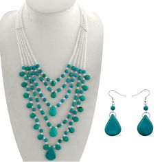 Liquidation Channel | Turquoise and Glass Bead Earrings and Multi-Strand Necklace in Stainless Steel