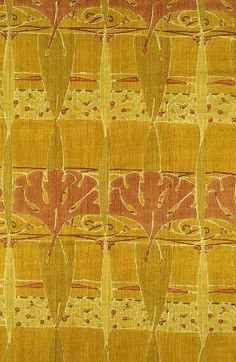 """Furnishing fabric -  Produced for Liberty & Co., English (London), about 1900 Dimensions  91.44 x 198.12 cm (36 x 78 in.) Medium or Technique Silk; plain weave, block-printed Yellow ground with horizontal bands of stylized orange gingko leaves alternating with bands of pale yellow arabesques and orange dots. Vertical twisted ribbons of plale yellow and green. Label (tag): """"Liberty G4575 Length: 6 3/4 yards Width 34"""" Regent St. London"""""""