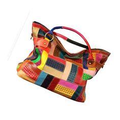 Here's a fun bag. Handbag Women Colorful Cow Genuine Leather - Patchwork Handmade Handbags - #ad