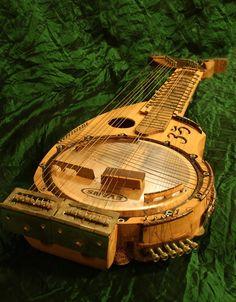 ambient-entropy:  Barp-Banjo Harp Guitar, with raised frets (like a sitar) and banjo drum resonator