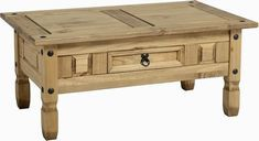 Coffee Table with 1 Drawer Corona Coffee Table, Pine Coffee Table, Coffee Table With Drawers, Rustic Coffee Tables, Mexican Pine Furniture, Wooden Furniture, Living Room Furniture, Furniture Ideas, Solid Pine