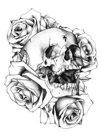 Skull & Roses Tattoo Desing