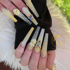 Coffin Shape Nails, Coffin Nails Long, Bling Nails, Stiletto Nails, Glam Nails, Rhinestone Nails, 3d Nails, Cute Nail Art Designs, Acrylic Nail Designs