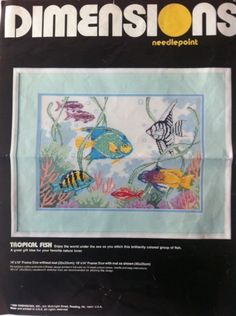"""Vintage Needlepoint Kit Tropical Fish by Dimensions 14"""" x 10"""" 