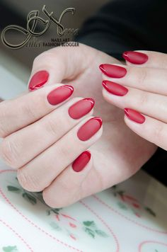 Red nails, french by Julia Nessa