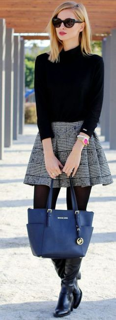 Glen Plaid Pleated Skirt Fall Streetstyle Inspo by Beauty – Fash… Adorable skirt! Glen Plaid Pleated Skirt Fall Streetstyle Inspo by Beauty – Fashion – Shopping. Mode Outfits, Chic Outfits, Fall Outfits, Fashion Outfits, Fashion Boots, Outfit Winter, Fall Fashion Tights, Pretty Outfits, Fashion Mode