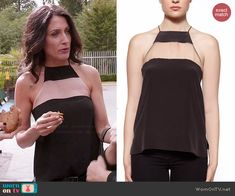 Abby's black mesh panel top on Girlfriends Guide to Divorce.  Outfit Details: http://wornontv.net/46215/ #GG2D