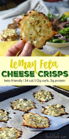 Diet Snacks Lemon Feta Cheese Crisps are a low carb snack with 34 calories, 3 grams protein and only gram carb per piece. Great for keto and diabetic friendly diets. - An easy, delicious low carb snack perfect for keto diets. Snacks Für Party, Keto Snacks, Healthy Snacks, Carb Free Snacks, Savory Snacks, Healthy Protein, Eat Healthy, Low Carb Recipes, Cooking Recipes