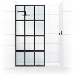 OMG, you can find actual shower doors like the popular pin!  Coastal Shower Doors - Products - Gridscape Shower Doors
