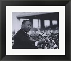 "Martin Luther King, Jr., leader in the African-American Civil Rights Movement, delivers speech.  15"" X 13"" $50.00"
