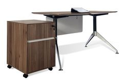 """300Collection 55"""" Modern Walnut Desk and Matching Mobile File"""