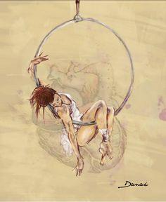 """Digital illustration, aerialhooper.  """"La mía Passione""""   Ilustración digital, artista de circo y aro aéreo."""