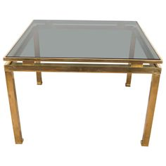 Mid-Century Guy Lefevre for Maison Jansen Brass and Glass Side or End Table | From a unique collection of antique and modern end tables at https://www.1stdibs.com/furniture/tables/end-tables/