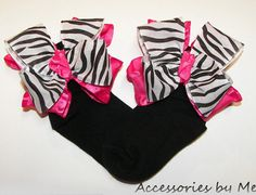 Frilly Zebra Bow Socks Black White Stripes Hot Pink Ruffle Girls Pageant Accessory Occasions Boutique Pageants Custom Color Choice on Etsy, £10.38