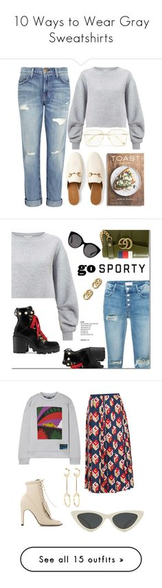 """10 Ways to Wear Gray Sweatshirts"" by polyvore-editorial ❤ liked on Polyvore featuring waystowear, GraySweatshirts, PHAIDON, Chloé, Miss Selfridge, Current/Elliott, Gucci, Mother, tops and hoodies"
