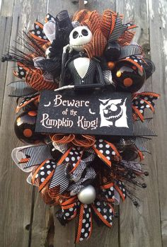 Halloween Wreath, Halloween Mesh Wreath, Halloween Swag, Nightmare Before Christmas Wreath, Jack Skellington Wreath Spooky Halloween, Halloween Mesh Wreaths, Homemade Halloween Decorations, Halloween Christmas, Halloween Crafts, Holiday Crafts, Holiday Fun, Happy Halloween, Christmas Wreaths