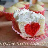 Surprise Heart Cupcakes - bake a little heart shape into each cupcake, Valentine's Day, valentine, valentines recipe cute kids kids at heart class idea