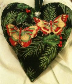 Christmas Butterfly Fabric Heart Lavender Bag / Christmas Ornament - Handmade