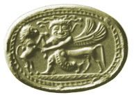 Cornelian scarab. A Greek gorgon with horse body (rare but appropriate for the monster) grapples a lion in a common eastern pose.  Unknown Coll. 14mm. AGGems no. 31.