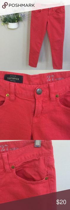 "NEW LISTING! J.Crew toothpick red ankle jeans These toothpick ankle jeans by J.Crew are so fun! Waist 27. Measures about 15"" across when laid flat. Inseam about 26 1/2"". Red is faded on edges and here and there from washing. Still in great shape! J. Crew Jeans Ankle & Cropped"