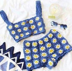 Crochet Daisy Top and Shorts,Beachwear, Festival Clothing. Crochet Daisy Top and Shorts,Beachwear, Festival Clothing.The item was made of cotton yarn. Tops A Crochet, Crochet Two Piece, Crochet Daisy, Mode Crochet, Crochet Crop Top, Crochet Granny, Knit Crochet, Crochet Summer, Crochet Sunflower