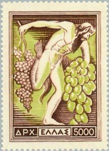 Here is an image of an engraved stamp depicting a satyr holding bunches of grapes, issued by Greece on July 1953 as the high value in a set of seven stamps publicizing national products, Scott No. Stamp World, Vides, Stamp Catalogue, Love Stamps, Satyr, Greek Art, Flower Stamp, Vintage Stamps, Mail Art