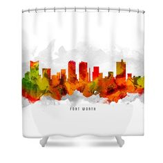 Fort Worth Texas Cityscape 15 Shower Curtain by Aged Pixel