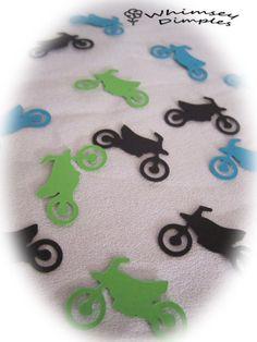 Dirt Bike Confetti MotorBike Die Cut for Scrapbook Card Making and Boys Birthday Party Decor. $2.50, via Etsy.