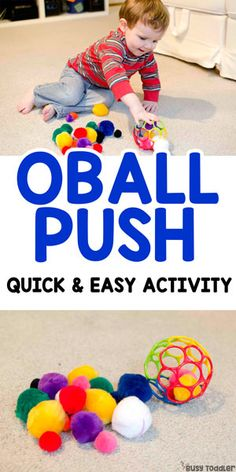 Pom Pom Oball Push: Taby Activity #easytoddleractivity #easybabyactivity #tabyactivity #finemotorskills