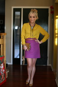 Color blocking with mustard yellow blouse and purple pencil skirt Colour Combinations Fashion, Fashion Colours, Purple Outfits, Cute Outfits, Fashion Themes, Feminine Style, Feminine Fashion, Yellow Blouse, Blouse Outfit