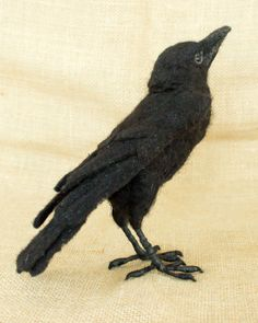 Karen the Crow: Needle felted animal sculpture: Textile Sculpture, Bird Sculpture, Animal Sculptures, Soft Sculpture, Textile Art, Needle Felted Animals, Felt Animals, Wet Felting, Needle Felting