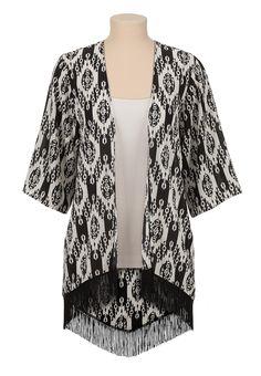 Contrast print kimono with fringe - maurices.com
