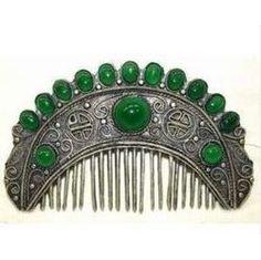Rare vintage hair comb with Tibetan jade