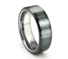 Tungsten Carbide Grey Meteorite Inlay von CleanCastingJewelry, $229,99
