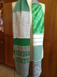 UPCYCLED t-shirt scarf... Michigan State University... MSU... Spartans... green, gray & white. $22.00, via Etsy.
