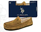 U.S. Polo Assn. Premium Men's Slippers Indoor Outdoor Sole Faux Shearling Flannel Lined Slippers - Comes Boxed and Ready for Holiday Gift Giving  A traditional take on the alternative shearling or flannel slipper, this style comes with flexible, rubber-like indoor/outdoor soles. Plush lined, this slipper combines the styling of a loafer with the shape and coziness of a fleecy moccasin. These slippers are warm but not hot, soft yet supportive, very breathable, and have a firm rubber s..