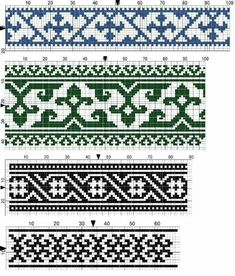 Charted Patterns from Medieval Egypt - Cross Stitch, Long-Armed Cross Stitch, Counted Herringbone Tapestry Crochet Patterns, Knitting Paterns, Knitting Charts, Textile Patterns, Knitting Stitches, Biscornu Cross Stitch, Cross Stitch Borders, Cross Stitch Designs, Stitch Patterns