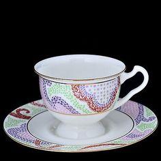 Russian Imperial Lomonosov Porcelain bone Tea cup and saucer Marienthal pink 22k
