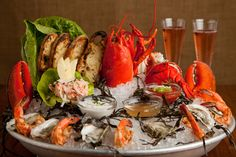 Seafood Platter: fresh local oysters, wild prawns, fresh dungeness crab, and smoked salmon spread, served on ice