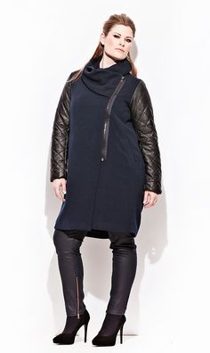 Dark blue coat with leather look sleeves By: carmakoma