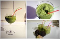 Avocado smoothie  Acocados, apples, oranges, ginger. I would add water/ice and perhaps some cocoa