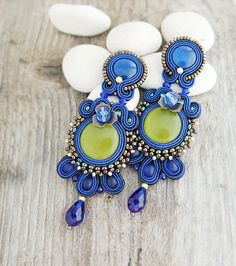 Long royal blue earrings stud soutache earrings royal by pUkke
