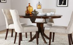 Table & Chairs £350 Hudson & Bewley Round Dark Wood Extending Dining Set (Oatmeal)