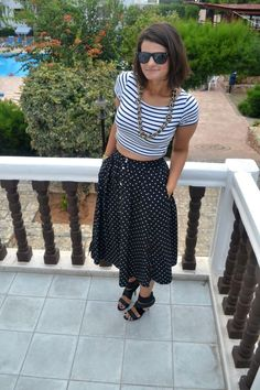 #outfit #personalstyle #fashion #polkadots #stripes #sailor #cropped #tee #highwaisted #skirt #studded #heels